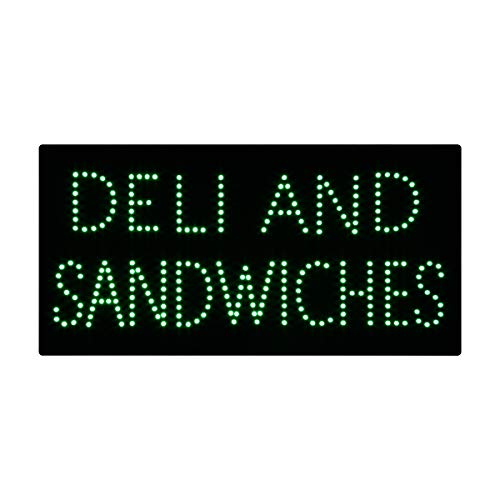 LED Deli Sandwich Open Light Sign Super Bright Electric Advertising Display Board for Pizza Hot Dog Burger Kebab Beef Business Shop Store Window Bedroom Decor 19 x 10 inches -