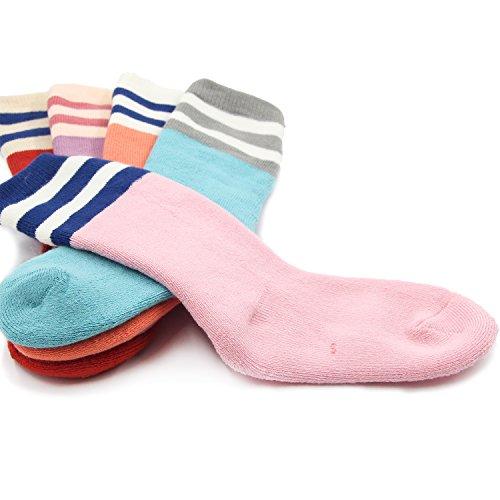 Big Girls Thick Cotton Socks Kids Winter Warm Crew Seamless Socks 5 Pack 8T/9T/10T by HowJoJo (Image #5)