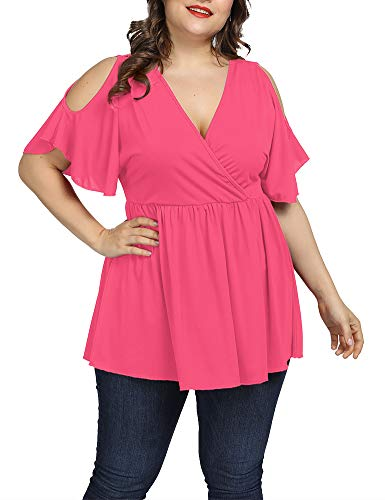 (Allegrace Women Plus Size Summer Cold Shoulder Tops Wrap V Neck Flowy Ruffle Sleeve Shirts Dusty Pink 3X )
