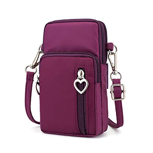 Zipper Crossbody Bag, Women Oxford 3-Layers Wristlet Shoulder Pouch Wallet Purse Armband Compatible iPhone Xs Max/LG V40 V35 G7 ThinQ/Stylo 4 / Motorola Moto g6 z3 e5 / Google Pixel 3 XL (Purple)