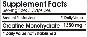 Creatine Monohydrate 1350mg // 200 Capsules // Pure // by PureControl Supplements