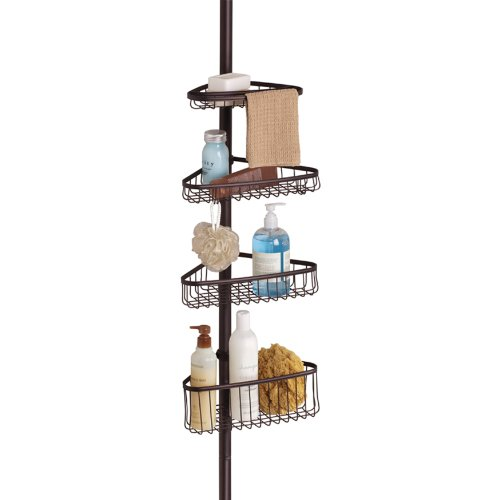 InterDesign York Constant Tension Corner Shower Caddy – Bathroom Storage Shelves for Shampoo, Conditioner, Soap and Razors, - Chestnut Metal Wall