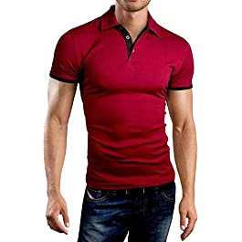 KUYIGO Men's Short Sleeve Polo Shirts Casual Slim Fit Basic Summer Cotton Shirts