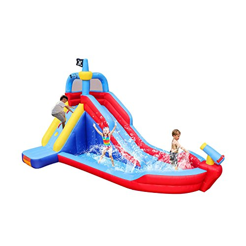 Bestparty Pirate Boat Inflatable Water Slide Water Park Bounce House With Blower