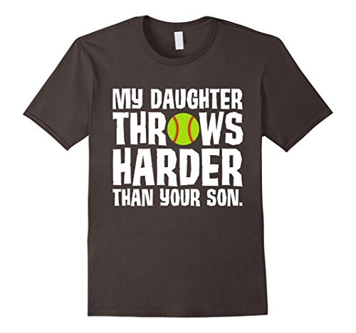 Men's Daughter Throws Harder Than Your Son Softball T-Shirt Large Asphalt (Sexy Softball Player)