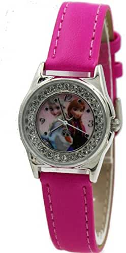 Disney Kids' Frozen Anna and Elsa Rhinestone-Accented Watch with Hot Pink Band