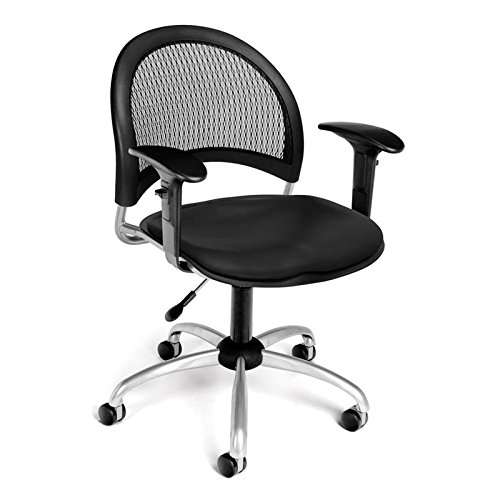 (OFM 336-VAM-AA3-606 Moon Swivel Vinyl Chair with Arms, Black)