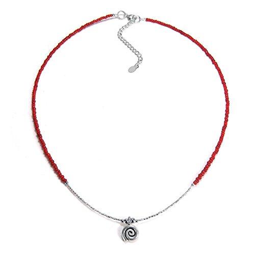 (AeraVida Spiral Swirl Thai Karen Hill Tribe Fine Silver Fashion Beads Necklace)
