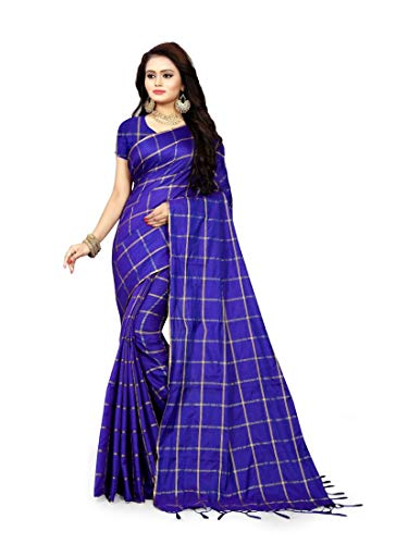 Ethnic Blue Color Sana Checks Saree ()