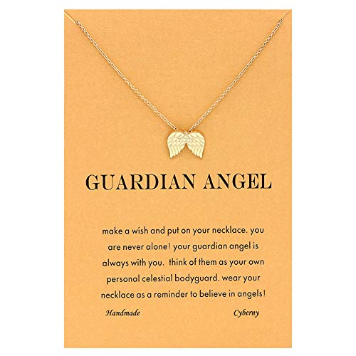 CYBERNY Message Card Golden Angel Wings Pendant Chain Necklace for Women -