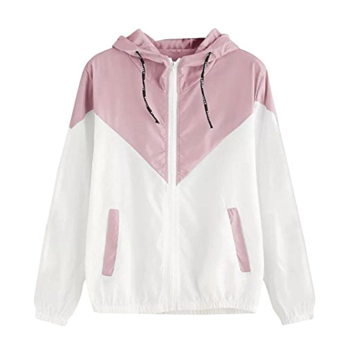 Sleeve Youth Pique Polo - iDWZA Women Brief Patchwork Thin Skinsuit Hooded Zipper Sport Coat with Pockets (L,Pink)
