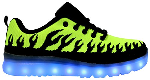 Gs Led Allument Chaussures Usb Charge Mens Sneakers Clignotant De Mode Vert