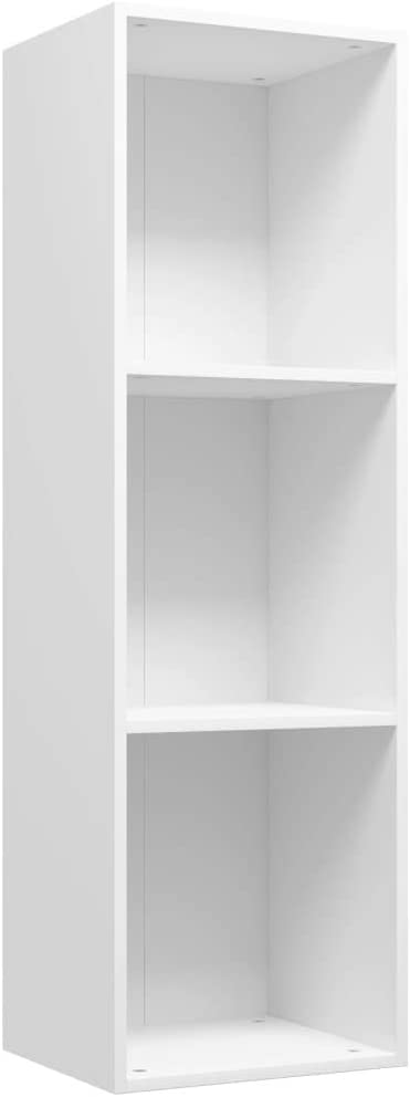 vidaXL Estantería Librería Convertible Mueble TV Estante Libros Vertical 3 Niveles Cubos Compartimentos Módulo Televisión Televisor Aglomerado Blanco