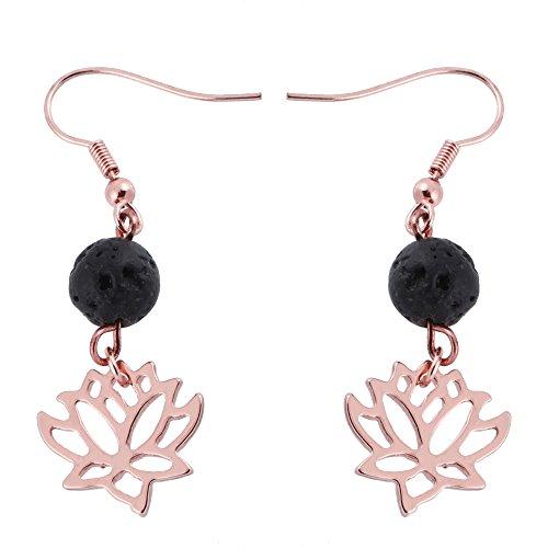 (SENFAI Lotus Flower 8mm Lava-rock Black Dangle Earrings 3 Tone Essential oil diffuser (Rose gold))