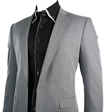 Mens Slim Fit 1 Button Grey Stitch Trim Blazer Smart Casual Office