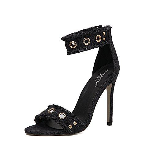 RUGAI-UE Zapatos de tacón alto para dama, nueva dama, sandalias y sandalias, remache europeo y estadounidense. black