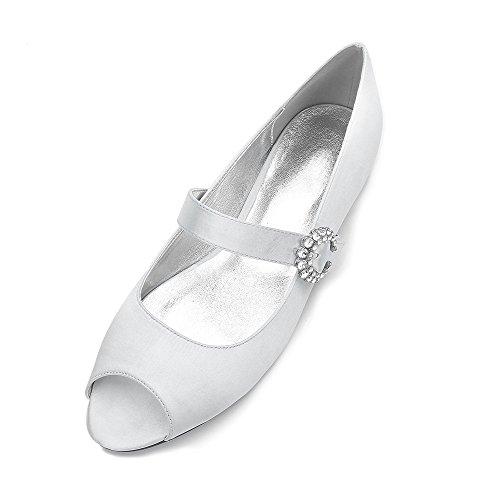 Satin pour de Banquet Chaussures Soie Poissons Fendu Duoai Bouche Chaussures Partie Bas Silver des Chaussures avec Mariage Plat à Femmes pqdnIOZw