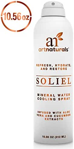 ArtNaturals Cooling Mineral-Water Facial Spray - (10 Fl Oz / 312ml) - for Face & Body - Infused with Aloe Vera & Cucumber - Bag on Valve Misting - Soothe & Calm Itching, Burnt and Sensitive Skin