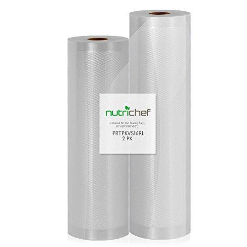 """(2) Rolls Vacuum Sealer Bags - (1) 8"""" x 50' and (1) 11"""" x 50' - For NutriChef PKVS10BK, PKVS10WT, PKVS18SL, PKVS18BK, PKVS20STS, PKVS30STS, and Other Vacuum Air Sealing Systems - NutriChef PRTPKVS16RL"""