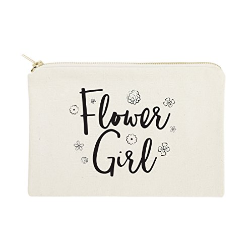 Flower Girl Bags - The Cotton & Canvas Co. Flower Girl Wedding Cosmetic Bag, Bridal Party Gift and Travel Make Up Pouch