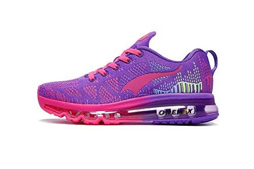 Onemix Women's Lightweight Air Cushion Outdoor Sport running Shoe, Purple Red, Women 5(M)US/Men 3(M)US 35EU (Purple Air)