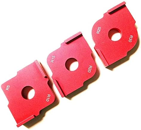 ZDX-MGGJ, 3Pcs / Set Radius Schnell Jig Router Tabelle Bit R5 R10 R15 R20 R25 R30 Corner Jig Vorlagen Holz Router Jig for Holzbearbeitungswerkzeuge (Color : Red)