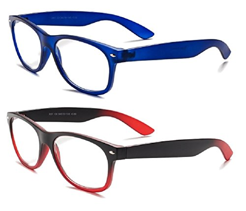 (Specs retro 80's Vintage Reading Glasses (Matte Blue and Black/ Red Gradient) +1.00 2-Pack )