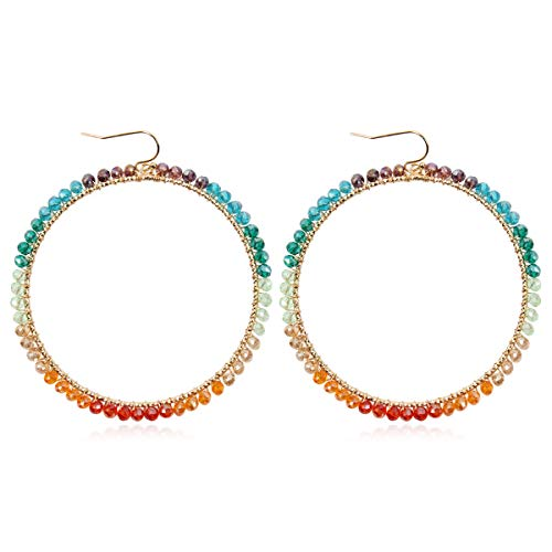 (Bohemian Beaded Statement Earrings - Lightweight Sparkly Crystal Teardrop Dangle, Rainbow Marquise, Multi Color Oval Drop, Pearl Hoops (Rainbow Sorbet Circle - Multicolor))