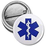Blue EMT EMERGENCY MEDICAL TECHNICIAN Symbol Fire Rescue Heroes 1 inch Mini Pinback Button Badge