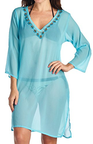High Style Women's 3/4th sleeve Sheer Bikini Swimsuit Cover Up Tunic Top (121, Turquoise, S/M)