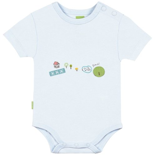 Kushies SS Body Suit - Blue-6 Months