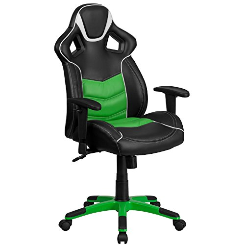 Flash Furniture High Back Verde Mantis Green Executive Gaming-Racing Swivel Chair with Comfort Coil Seat Springs and Green Base