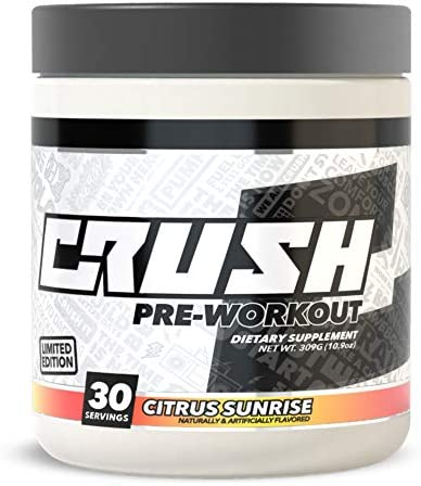 CRUSH Pre-Workout – Clean Consistent Energy, Deep Focus, Great Pumps. No Fillers, No Dyes, No Tingles, No Proprietary Blends Citrus Sunrise