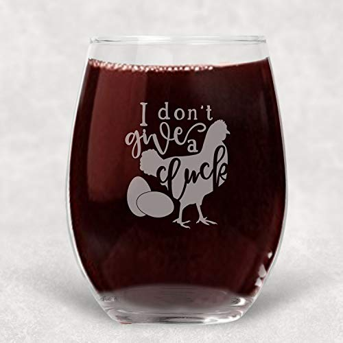 (I don't Give a Cluck, Chicken Stemless Glass Funny Gift for Women)