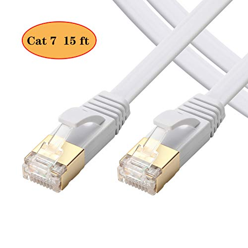 Cat 7 Ethernet Cable 15 ft- Internet Cable High Speed - Cat7 Ethernet Cord RJ45 Connectors -Network Cable Patch Cord Gold Plated Snagless(15 ft/5m)