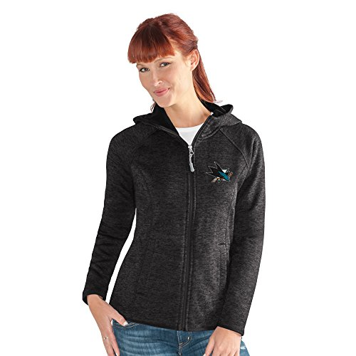 (GIII For Her NHL San Jose Sharks Women's Kick Off Full Zip Jacket, X-Large, Black)