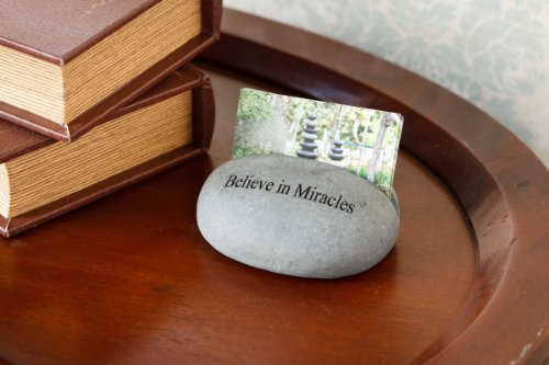 Believe in Miracles Engraved Stone Business Card Holder Stand Card holder Unique Gift Ideas For Business