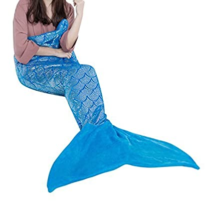 LANGRIA Mermaid Tail Blanket for Adults and Children Soft Warm All Season  Snuggle Sleeping Life- a02b40cda
