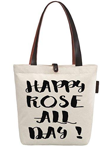 So'each Women's Happy Rose All Day! Graphic Canvas Handbag Tote Shoulder Bag