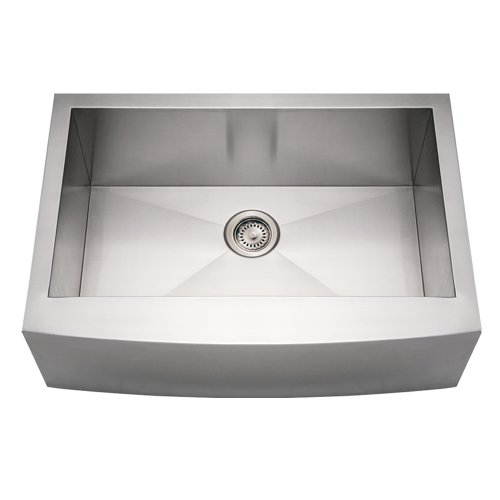 Whitehaus WHNCMAP3021-BSS Noah's Collection 30-Inch Commercial Single Bowl Sink with an Arched Front Apron, Brushed Stainless Steel ()