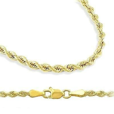 18 Inch 10k Yellow Gold Hollow Rope Chain Necklace with Lobster Claw Clasp for Women and Men, 2mm by SL Chain Collection (Image #2)