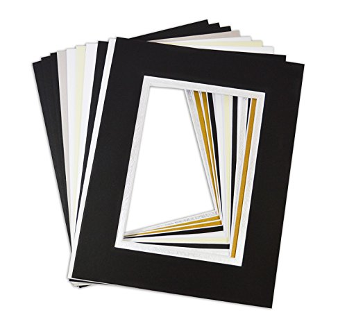 ck of 10, Mix Colors 8x10 Picture Double Mat for 5x7 Photo with White Core Bevel Cut Frame Mattes ()