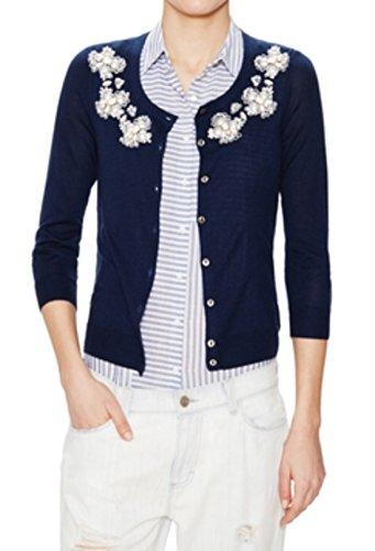 Beaded Silk Sweater (Lusso Luxury Women's Long Sleeve Silk Beaded Cardigan, Navy (X-Large, Navy))