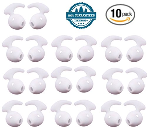 Tiehnom 20 Piece (10 Pair) Samsung Earbud Ear Hooks Covers Silicone Tips Replacement Ear Gels Buds for Samsung Galaxy S7/S7 Edge /S6/S6 Edge Earbuds (White)