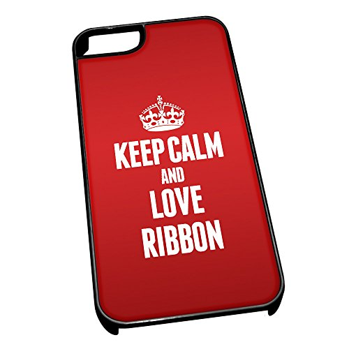 Nero cover per iPhone 5/5S 1865 Red Keep Calm and Love Ribbon