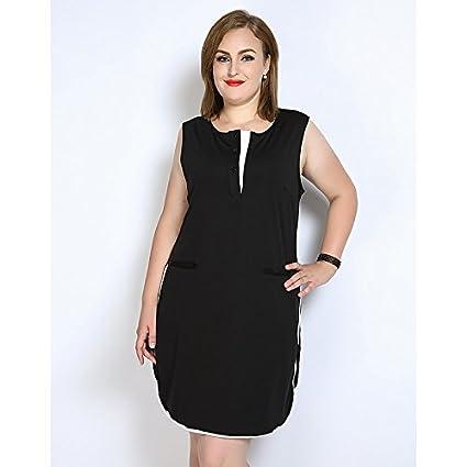 JIALELE La Mujer Plus Size Cambio Suelto Vestido de Blanco y Negro - Color Block,