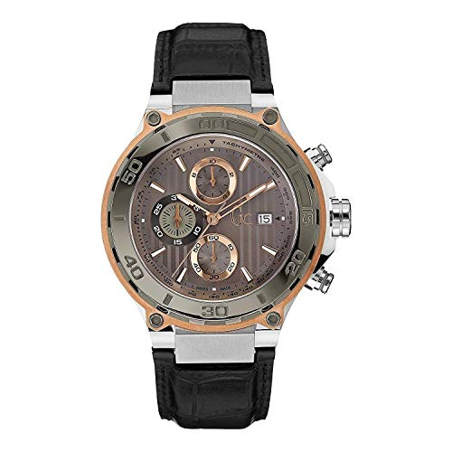 Guess Collection Men's Chronograph Swiss Quartz Watch with Black Leather Strap X56007G1S Gc Bold Sport Chic Collection