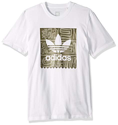 (adidas Originals Men's Dakari Blackbird Tee, White/raw Khaki/Night Cargo, Large)