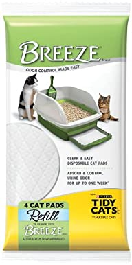 Tidy Cats Cat Litter, Breeze, Litter Pad Refill, Unscented, 4 Count Pouch, Pack of 10