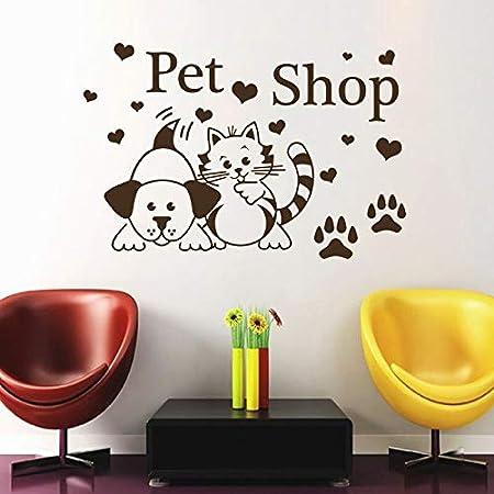 yiyitop Tienda de Mascotas Pegatinas de Pared Gatos Perros Pata ...